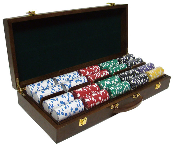 500 Diamond Suited Poker Chip Set with Walnut Case