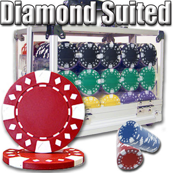 600 Diamond Suited Poker Chip Set with Acrylic Carrying Case