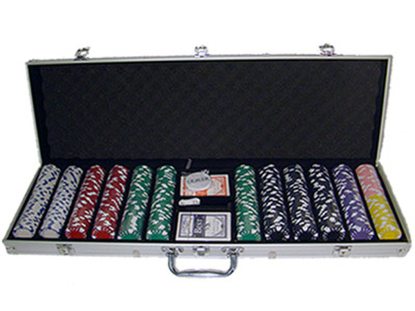600 Diamond Suited Poker Chip Set with Aluminum Case