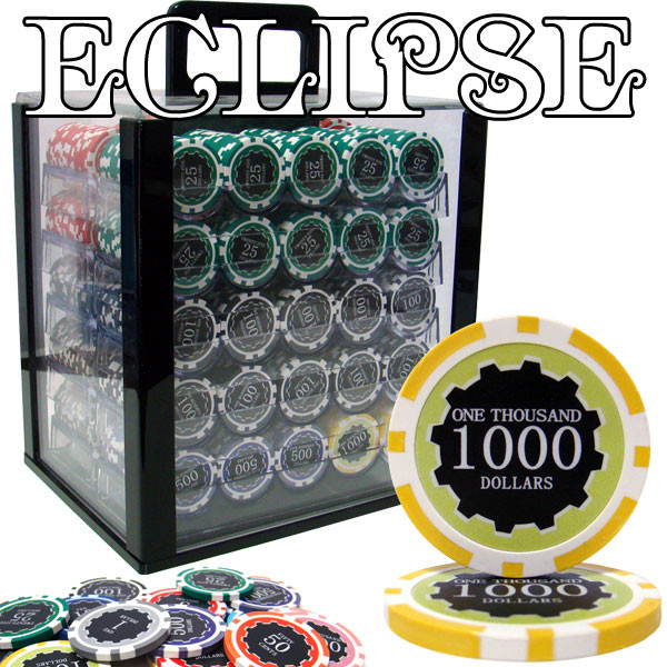 1,000 Eclipse Poker Chip Set with Acrylic Carrying Case