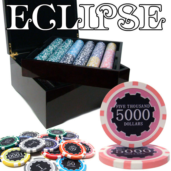 750 Eclipse Poker Chip Set with Mahogany Case