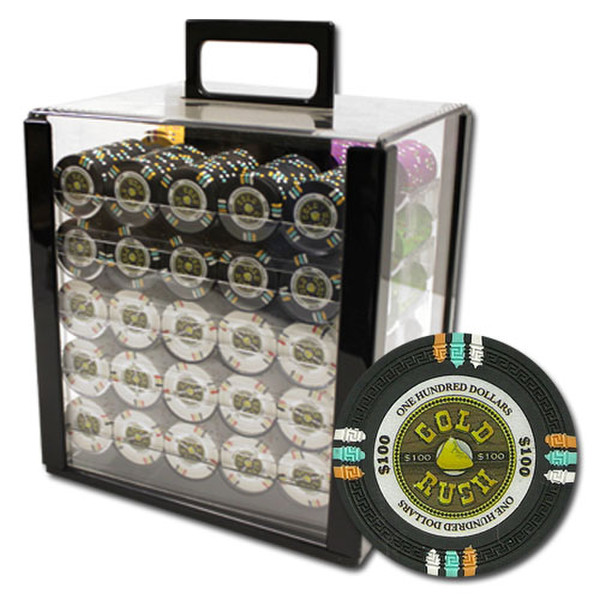 1,000 Gold Rush Poker Chip Set with Acrylic Carrying Case