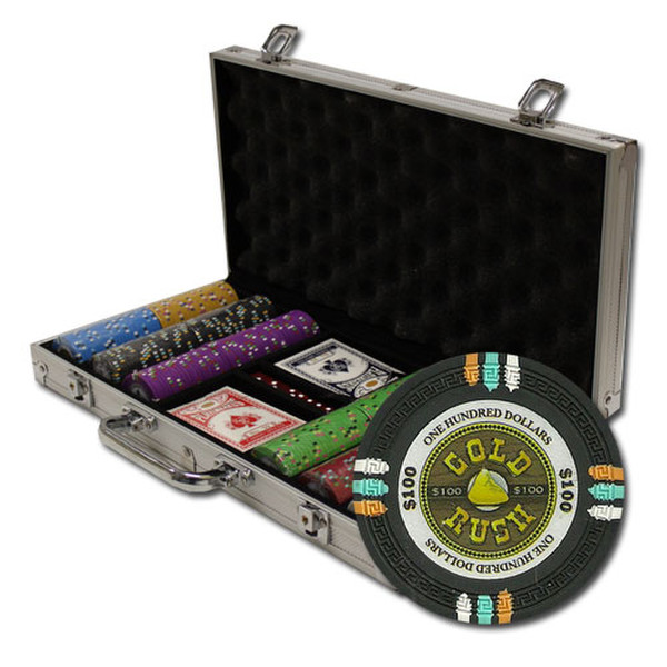300 Gold Rush Poker Chip Set with Aluminum Case