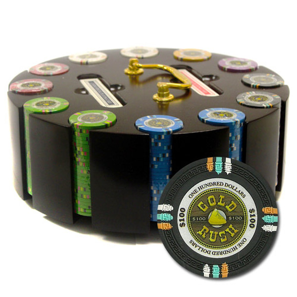 300 Gold Rush Poker Chip Set with Wooden Carousel