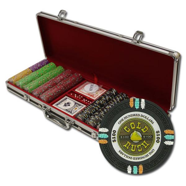 500 Gold Rush Poker Chip Set with Black Aluminum Case