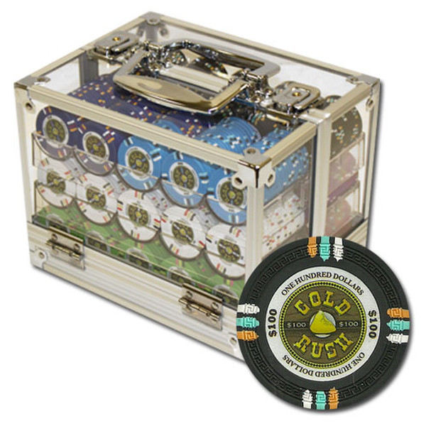 600 Gold Rush Poker Chip Set with Acrylic Carrying Case