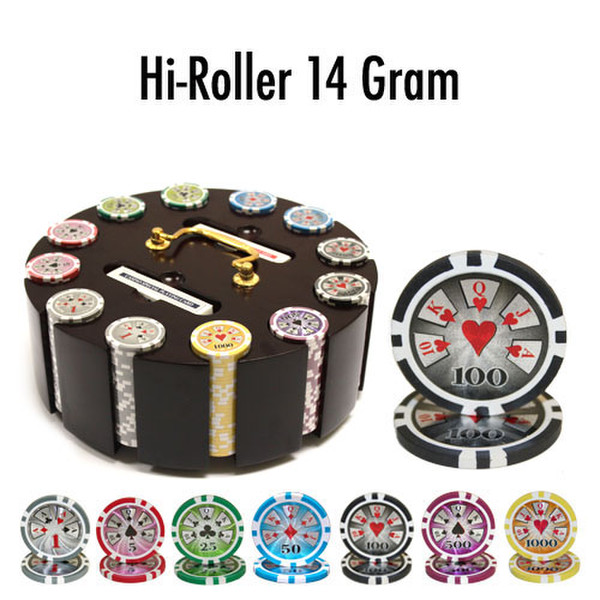 300 Hi Roller Poker Chip Set with Wooden Carousel