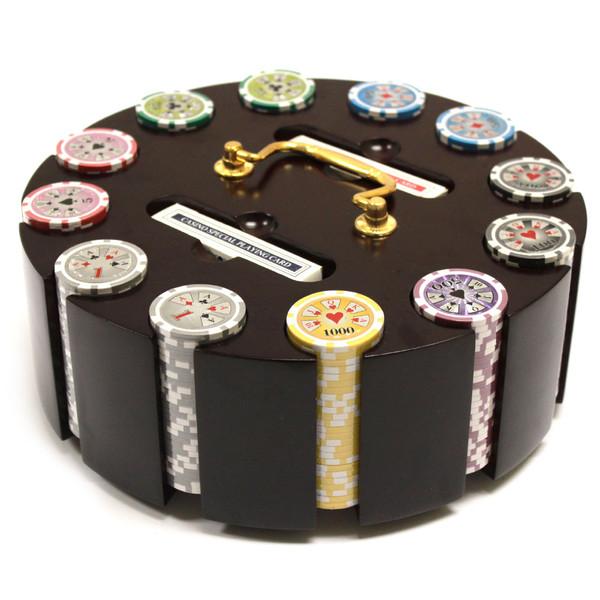 300 Hi Roller Poker Chip Set with Wooden Carousel