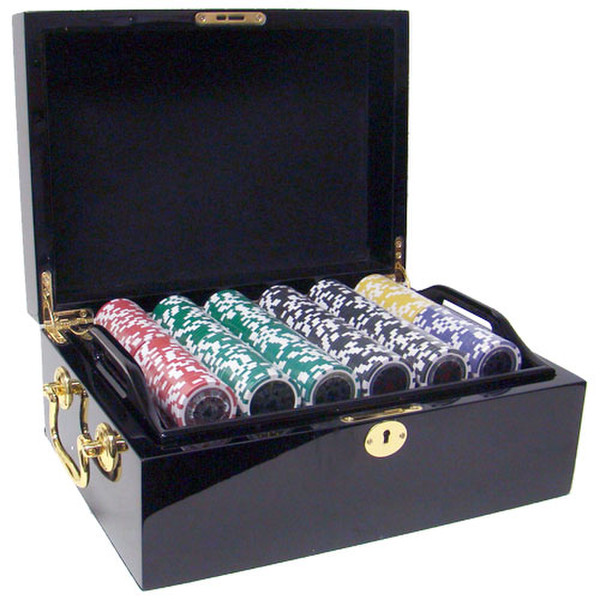 500 Hi Roller Poker Chip Set with Black Mahogany Case