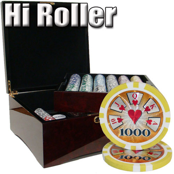 750 Hi Roller Poker Chip Set with Mahogany Case