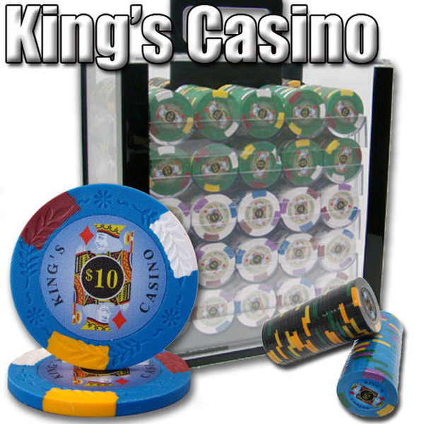1,000 King's Casino Poker Chip Set with Acrylic Carrying Case
