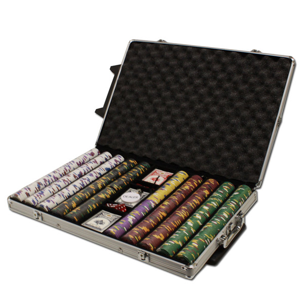 1,000 King's Casino Poker Chip Set with Rolling Case