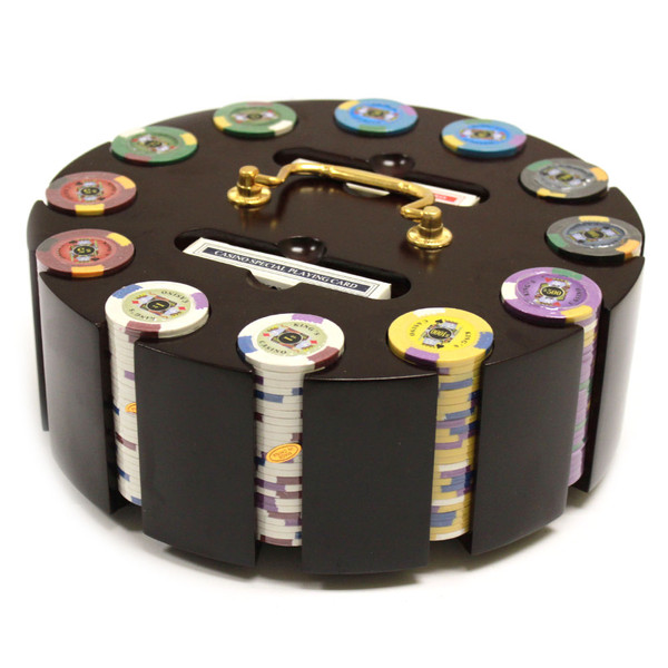 300 King's Casino Poker Chip Set with Wooden Carousel