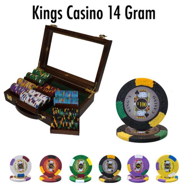 300 King's Casino Poker Chip Set with Walnut Case