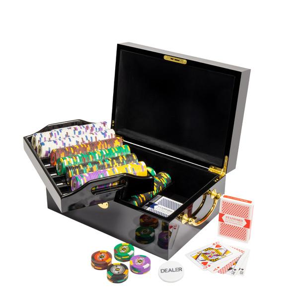500 King's Casino Poker Chip Set with Black Mahogany Case