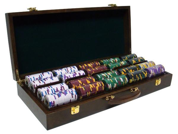 500 King's Casino Poker Chip Set with Walnut Case