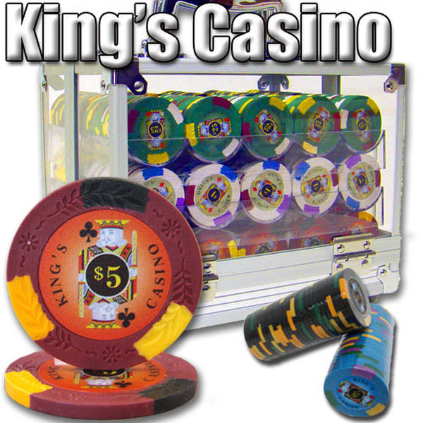 600 King's Casino Poker Chip Set with Acrylic Carrying Case