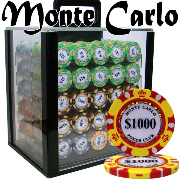 1,000 Monte Carlo Poker Chip Set with Acrylic Carrying Case