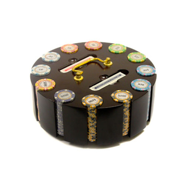 300 Monte Carlo Poker Chip Set with Wooden Carousel
