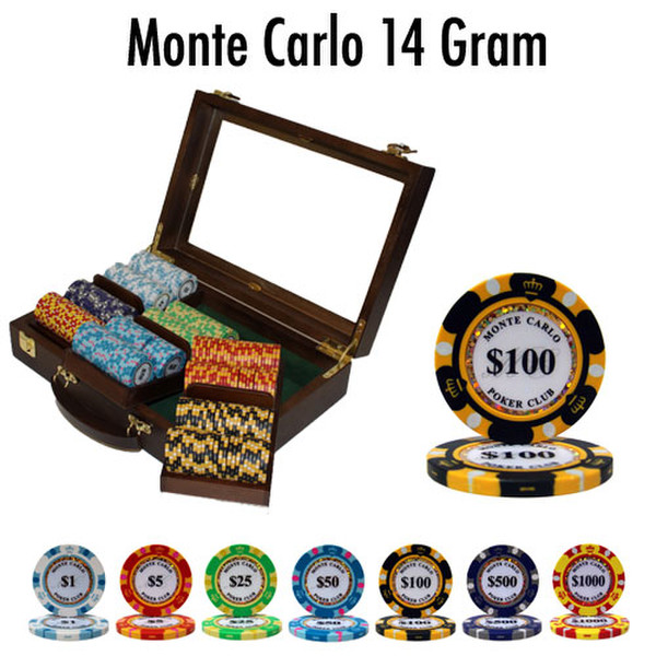 300 Monte Carlo Poker Chip Set with Walnut Case
