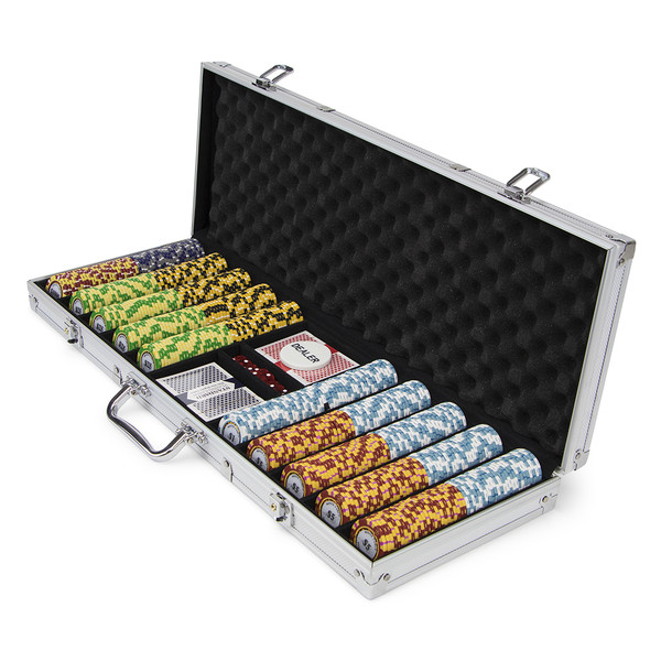 500 Monte Carlo Poker Chip Set with Aluminum Case