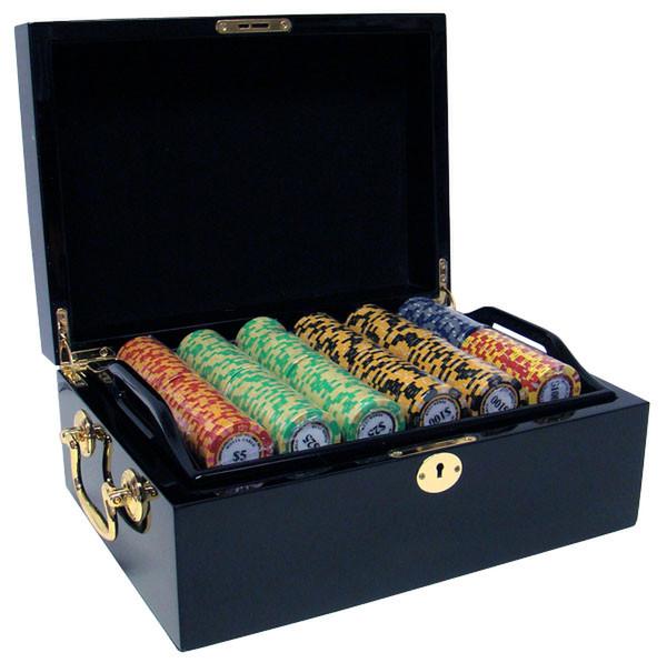 500 Monte Carlo Poker Chip Set with Black Mahogany Case