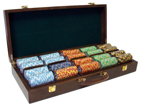 500 Monte Carlo Poker Chip Set with Walnut Case
