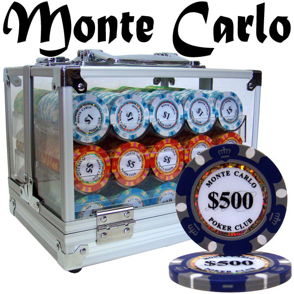 600 Monte Carlo Poker Chip Set with Acrylic Carrying Case