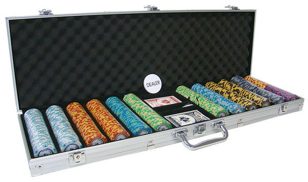 600 Monte Carlo Poker Chip Set with Aluminum Case