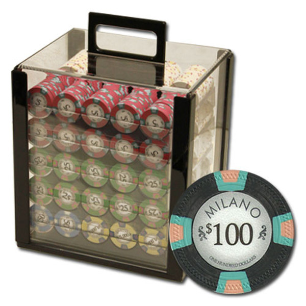 1,000 Milano Poker Chip Set with Acrylic Carrying Case
