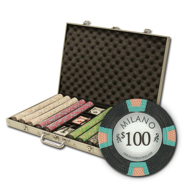 1,000 Milano Poker Chip Set with Aluminum Case