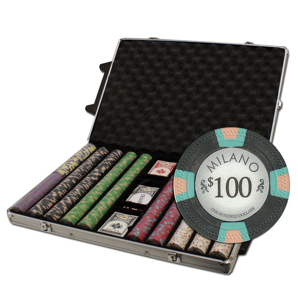1,000 Milano Poker Chip Set with Rolling Case
