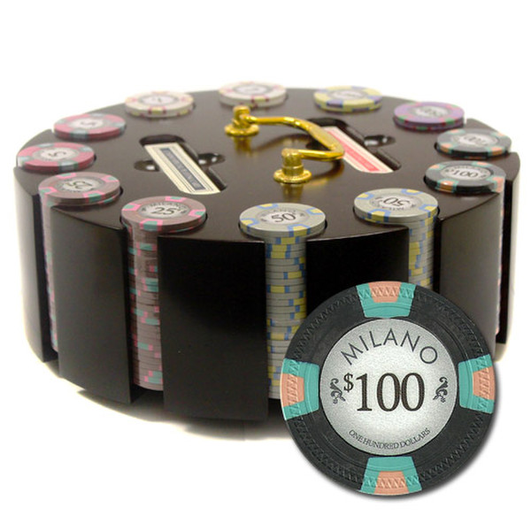 300 Milano Poker Chip Set with Wooden Carousel