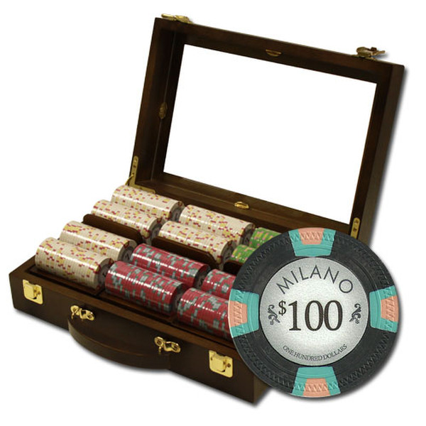 300 Milano Poker Chip Set with Walnut Case