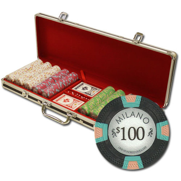 500 Milano Poker Chip Set with Black Aluminum Case