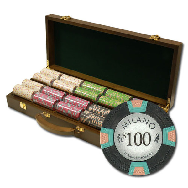 500 Milano Poker Chip Set with Walnut Case