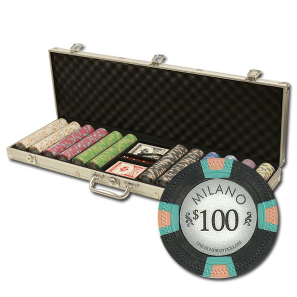 600 Milano Poker Chip Set with Aluminum Case