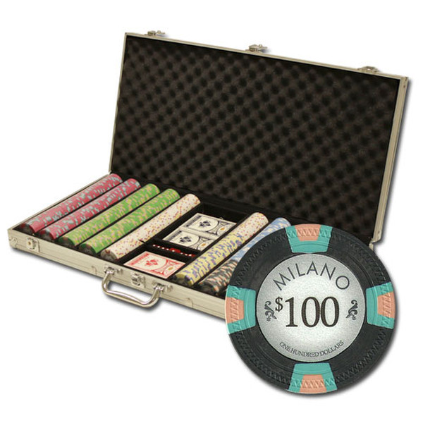 750 Milano Poker Chip Set with Aluminum Case