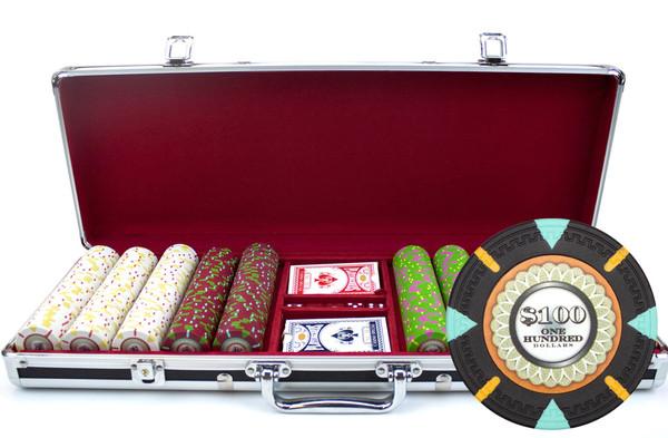 500 'The Mint' Poker Chip Set with Black Aluminum Case