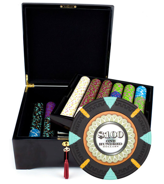 750 'The Mint' Poker Chip Set with Mahogany Case