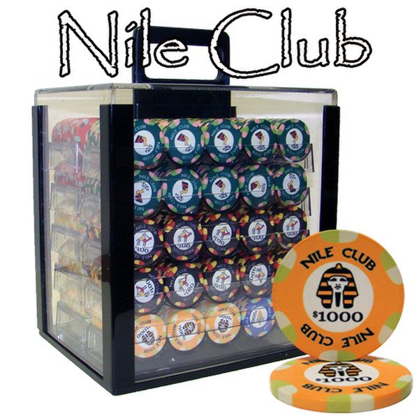 1,000 Nile Club Poker Chip Set with Acrylic Carrying Case