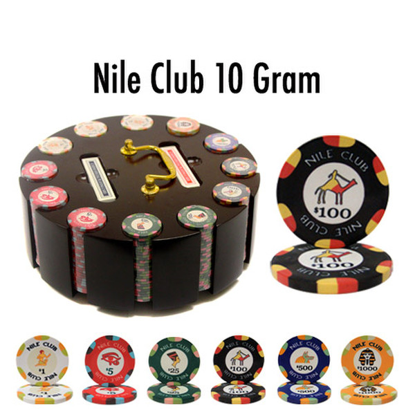 300 Nile Club Poker Chip Set with Wooden Carousel