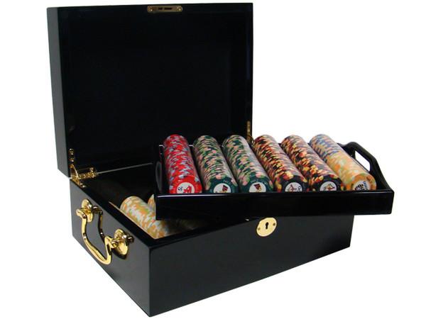 500 Nile Club Poker Chip Set with Black Mahogany Case