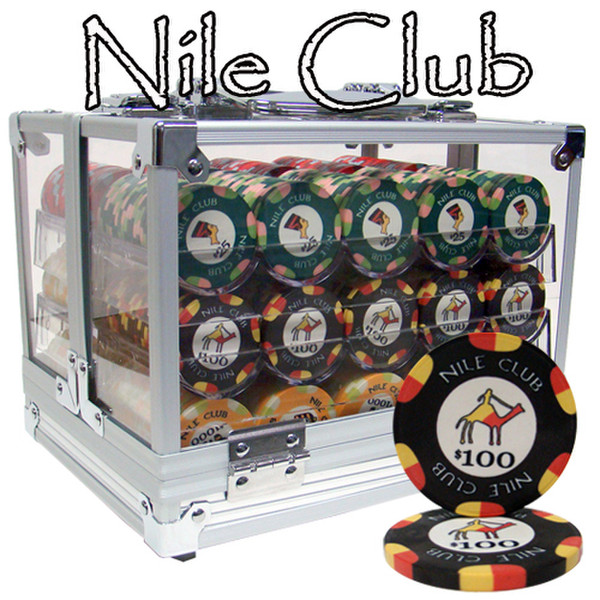 600 Nile Club Poker Chip Set with Acrylic Carrying Case
