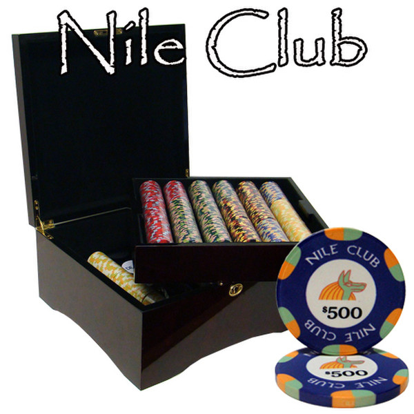 750 Nile Club Poker Chip Set with Mahogany Case