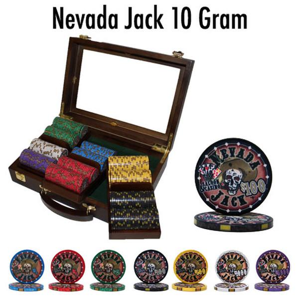 300 Chip Nevada Jack Poker Chip Set with Walnut Case