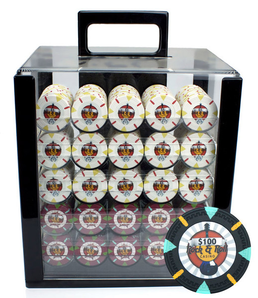 1,000 'Rock & Roll' Poker Chip Set with Acrylic Carrying Case