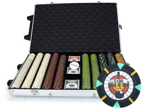 1,000 'Rock & Roll' Poker Chip Set with Rolling Case