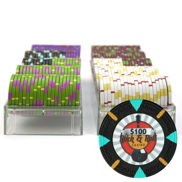 200 'Rock & Roll' Poker Chip Set with Acrylic Tray