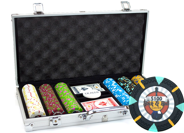 300 'Rock & Roll' Poker Chip Set with Aluminum Case